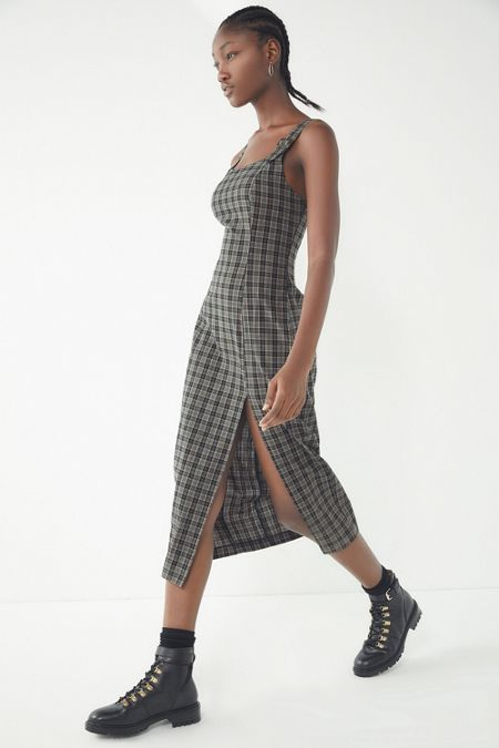 Dresses rompers urban outfitters uo charlotte plaid pinafore midi dress mightylinksfo