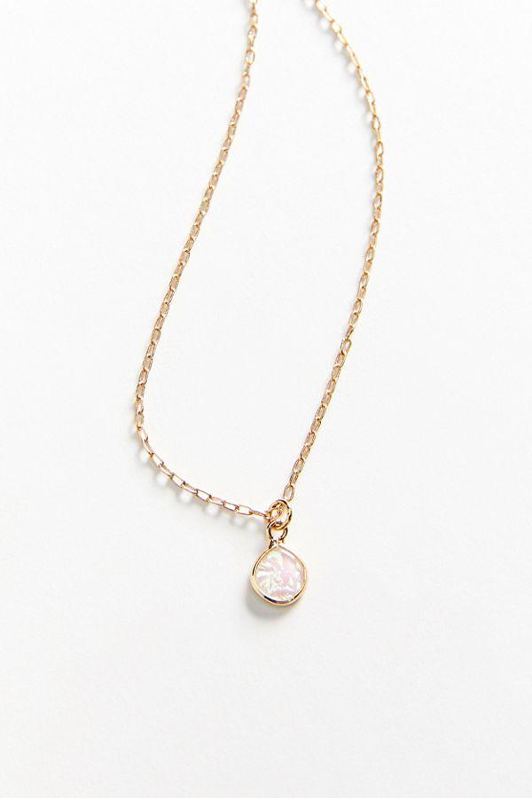 Delicate opal pendant necklace urban outfitters slide view 2 delicate opal pendant necklace aloadofball Images
