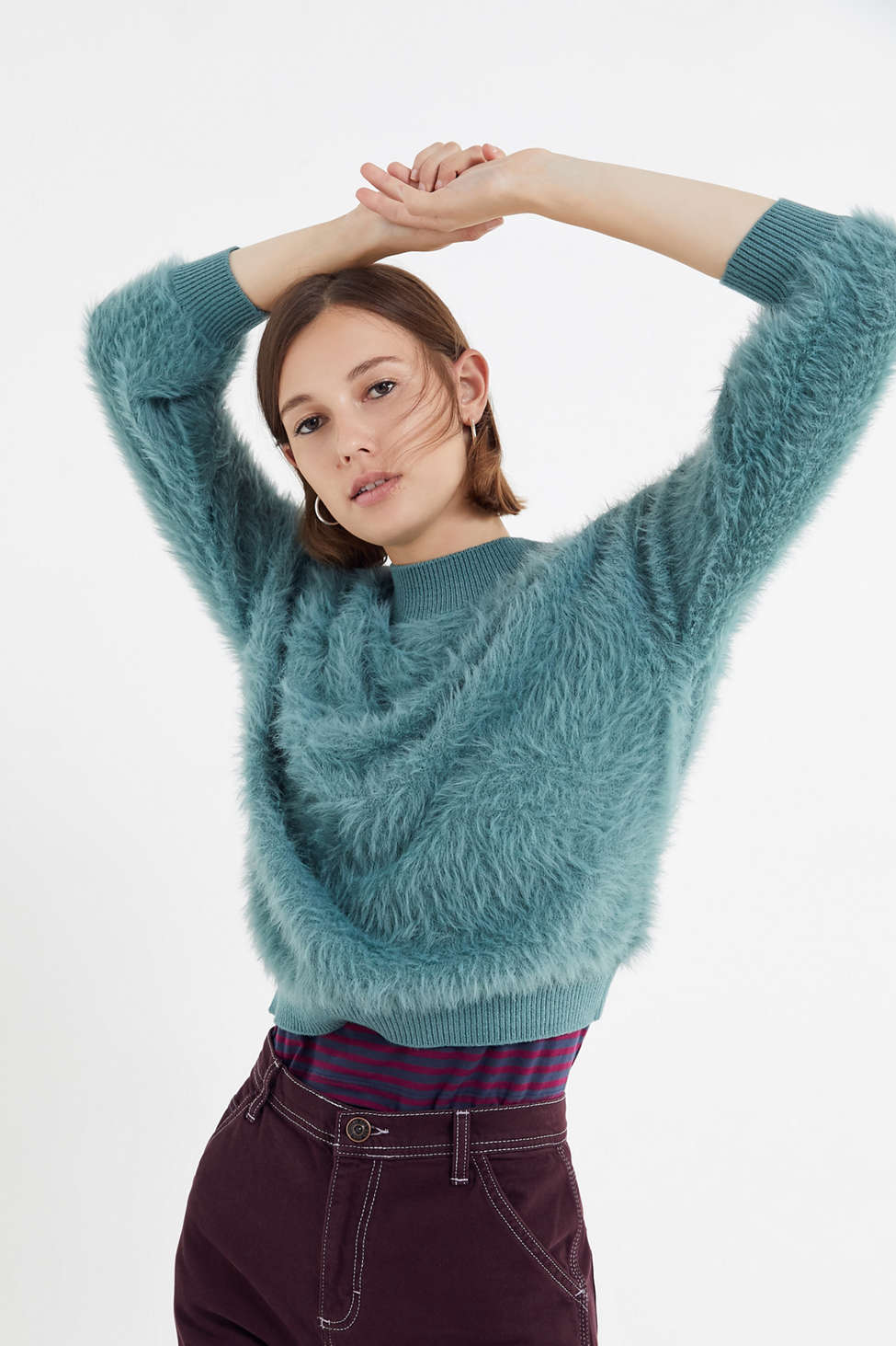 Uo Sweet As A Peach Fuzzy Mock Neck Sweater Urban Outfitters
