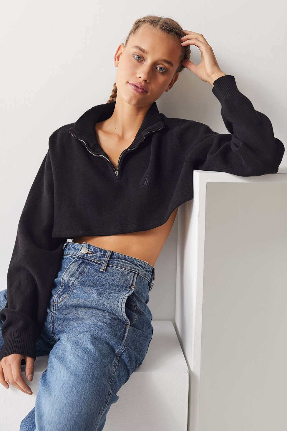 Urban Renewal Remade Quarter Zip Cropped Sweater Urban Outfitters