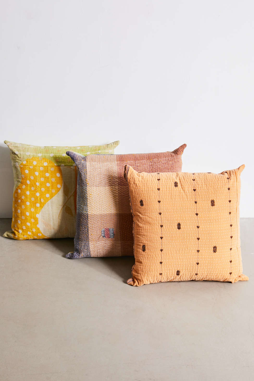 Slide View: 1: Urban Renewal One-Of-A-Kind Bleached Out Kantha Throw Pillow