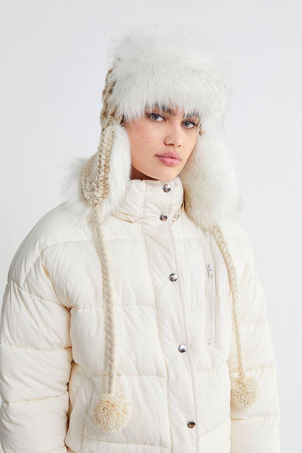 Cable Knit Faux Fur Trapper Hat  41bdedd35a0