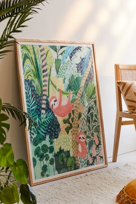 Ambers Textiles Jungle Sloth Art Print