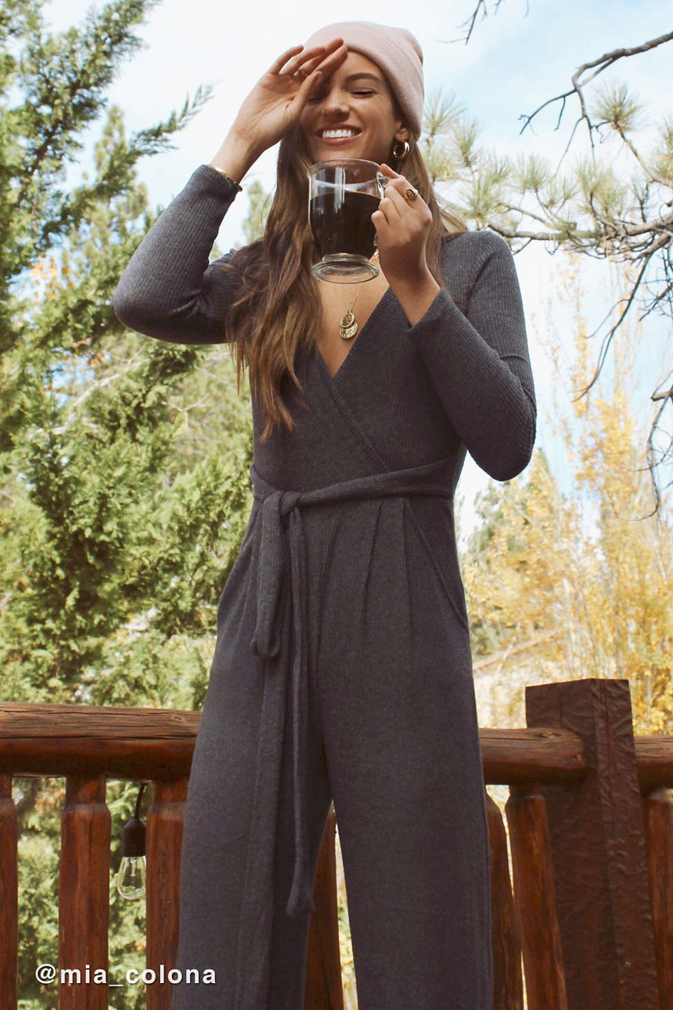 Cozy Ribbed Knit Wrap Jumpsuit