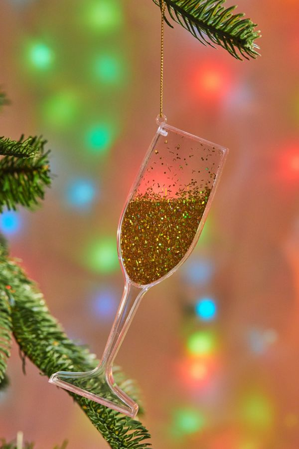 Get Our Emails - Glitter Wine Glass Christmas Ornament Urban Outfitters