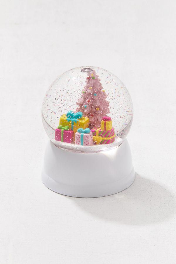 slide view 3 pink christmas tree usb snow globe