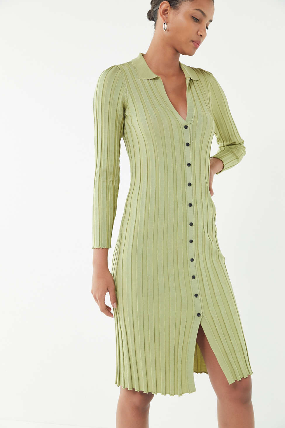 Uo Alta Button Down Sweater Dress Urban Outfitters