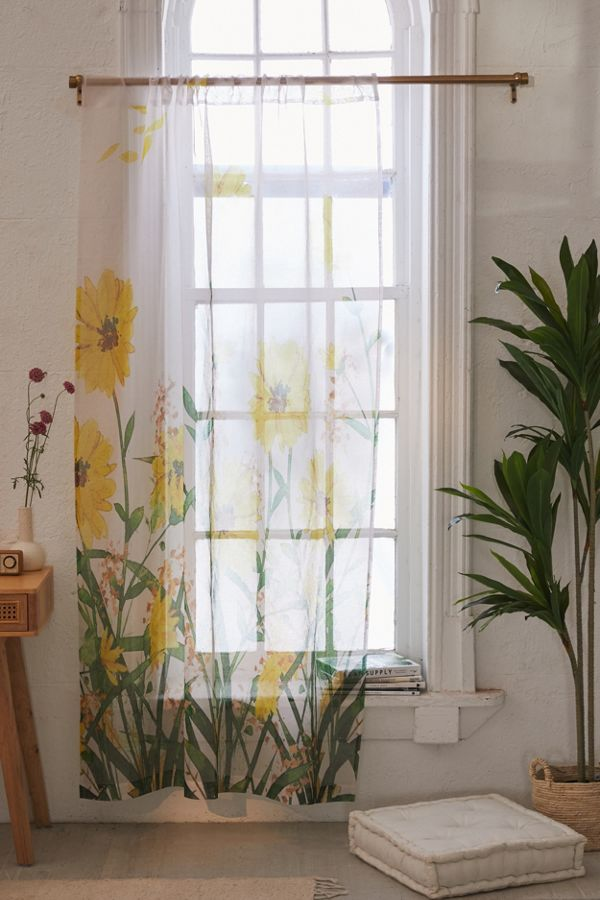 Slide View: 1: Nadja For Deny Yellow Flowers Sheer Window Panel