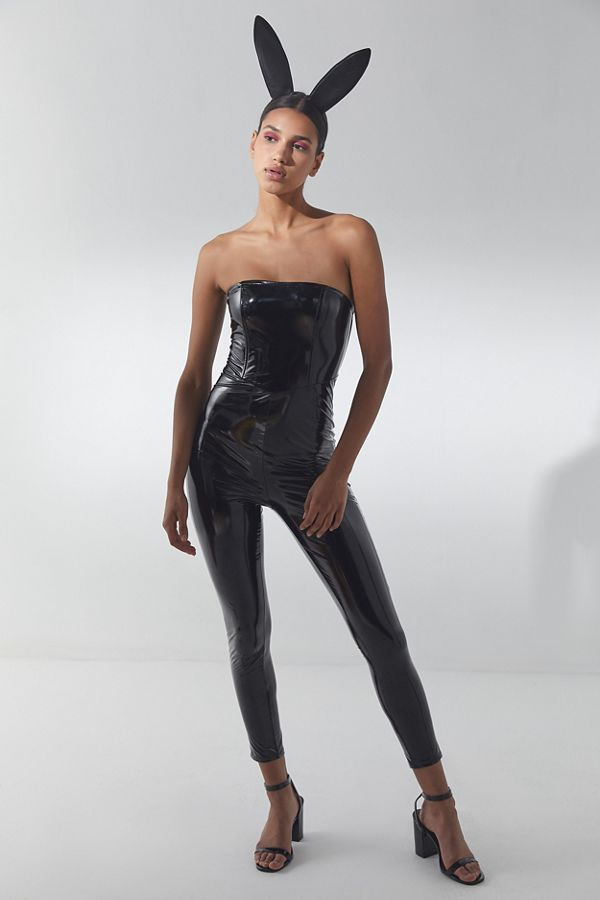 slide view 1 black pleather catsuit halloween costume