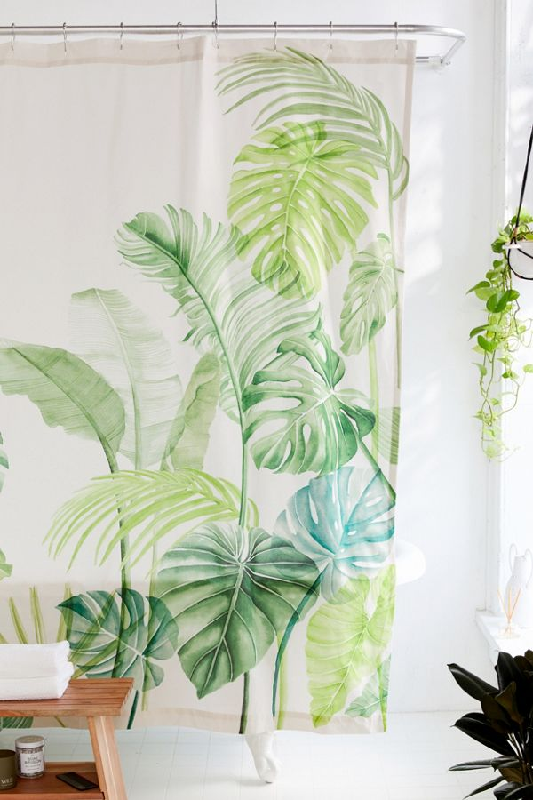Slide View 1 Watercolor Tropical Shower Curtain