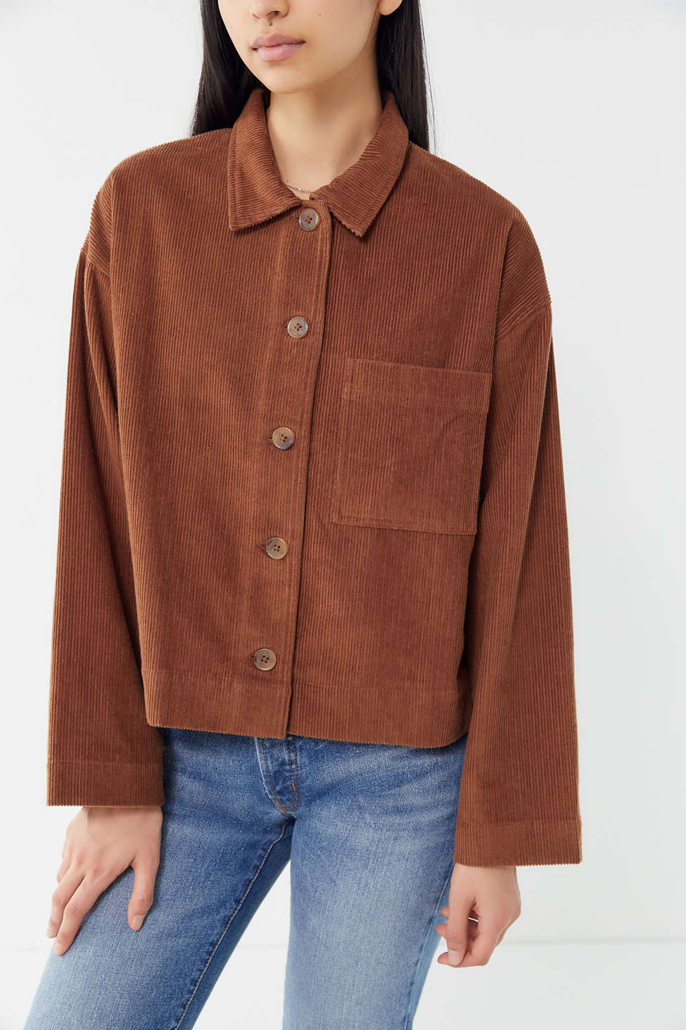Uo Clark Corduroy Button Down Shirt Jacket Urban Outfitters