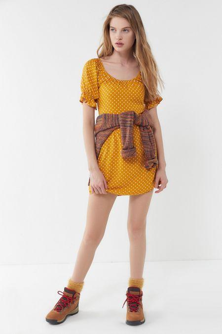 ef7480a1ebd UO Polka Dot Puff Sleeve Mini Dress
