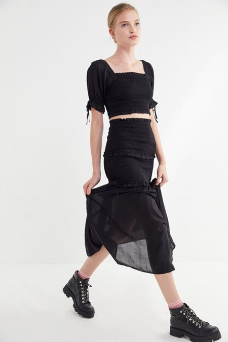 bb5a1ab98ed UO Zane Smocked Ruffle Maxi Skirt