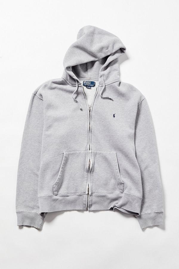 3d7c16860 ... shop vintage polo ralph lauren grey zip front hoodie sweatshirt 9a906  6793b