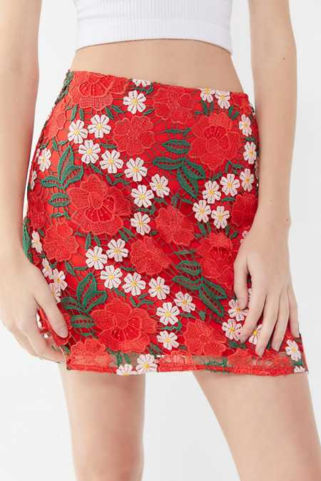 Finders Keepers Valencia Floral Embroidered Mini Skirt