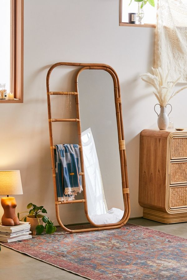 Urban Outfitters Furniture Ria Leaning Rattan Mirror