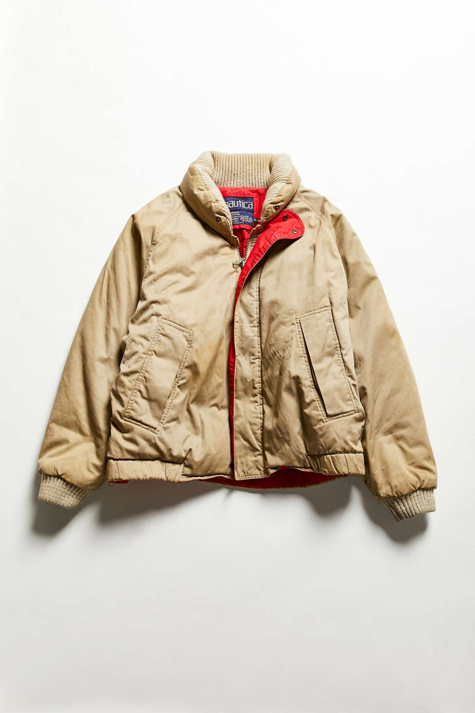 Vintage Nautica Tan Puffer Bomber Jacket Urban Outfitters Canada
