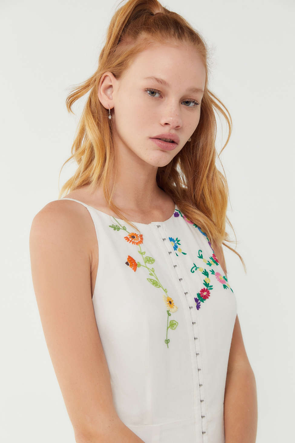 Uo Josie Floral Embroidered Linen Midi Dress by Urban Outfitters