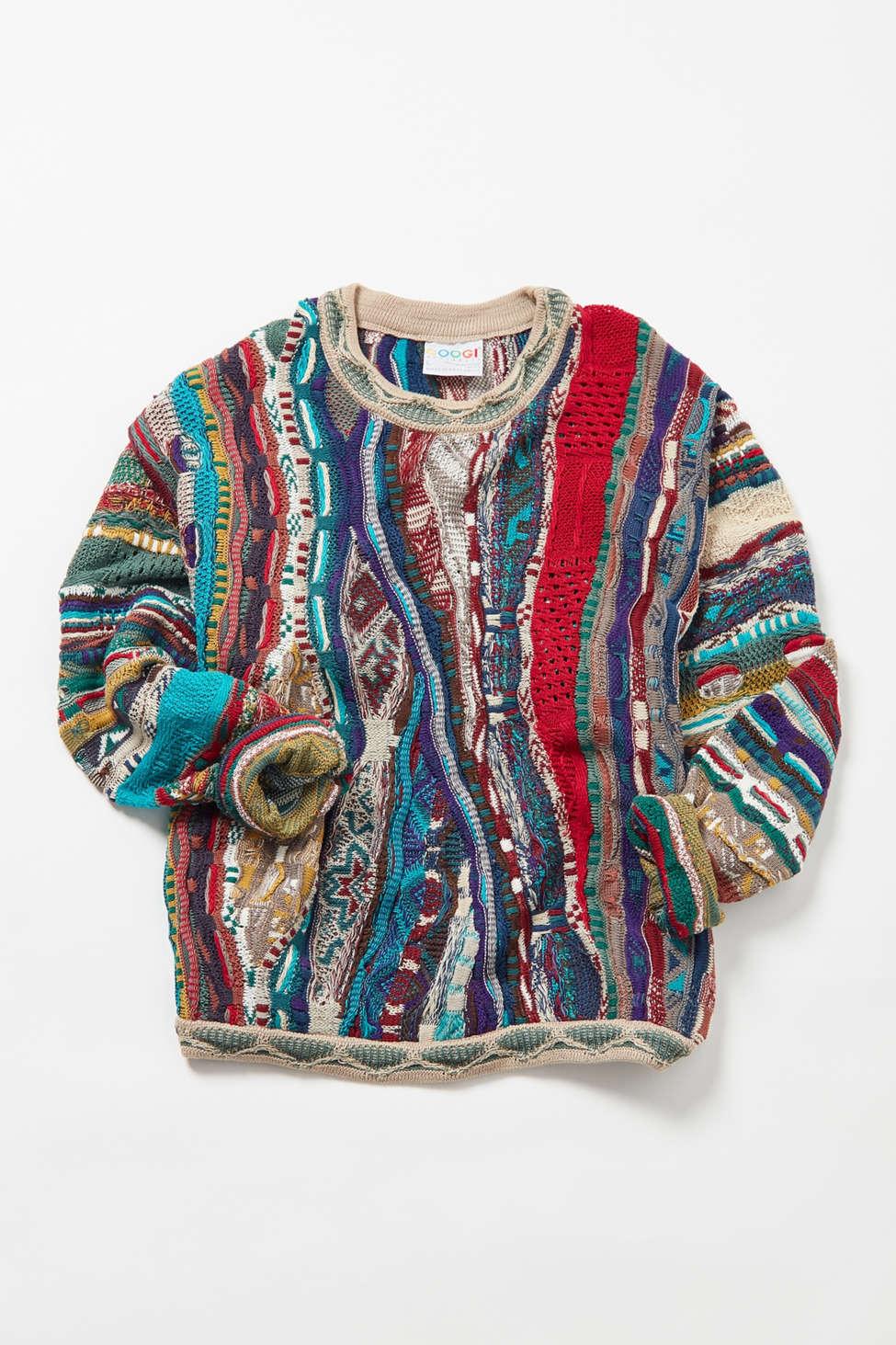 Vintage Coogi Cream Multicolor Stripe Sweater