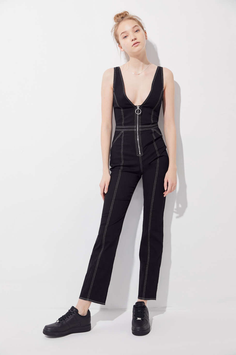 Tiger Mist Ava Contrast Stitch Kick Flare Jumpsuit Urban Outfitters