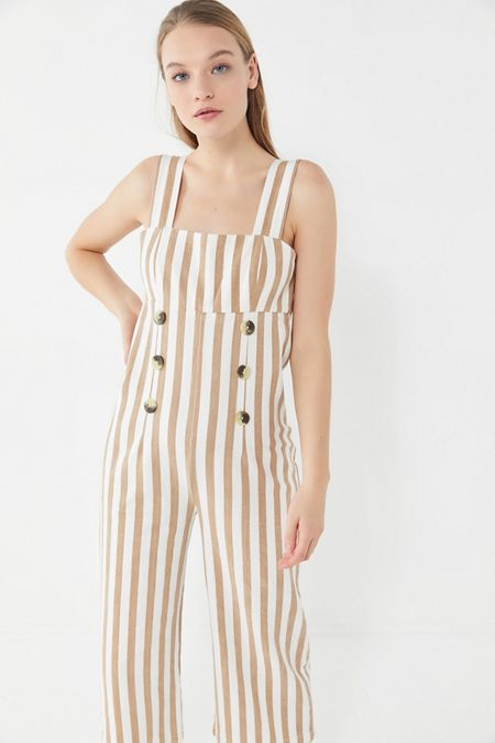 ba9aec79bbb5 UO Murphy Striped Button-Front Cropped Jumpsuit