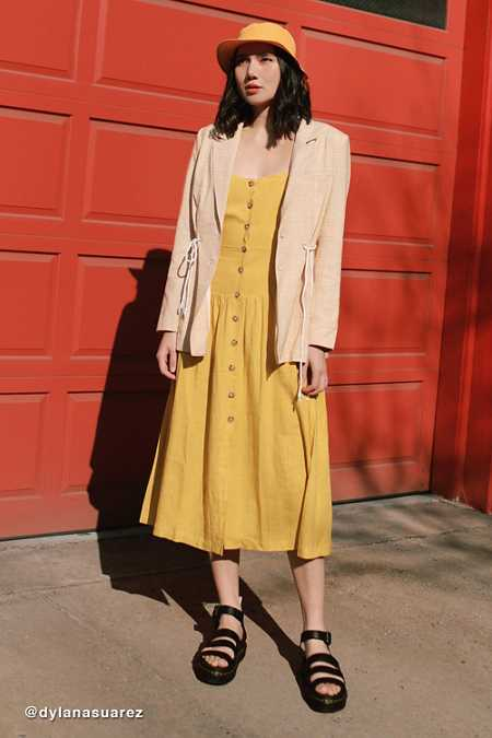 UO Linen Button-Down Drop Waist Midi Dress