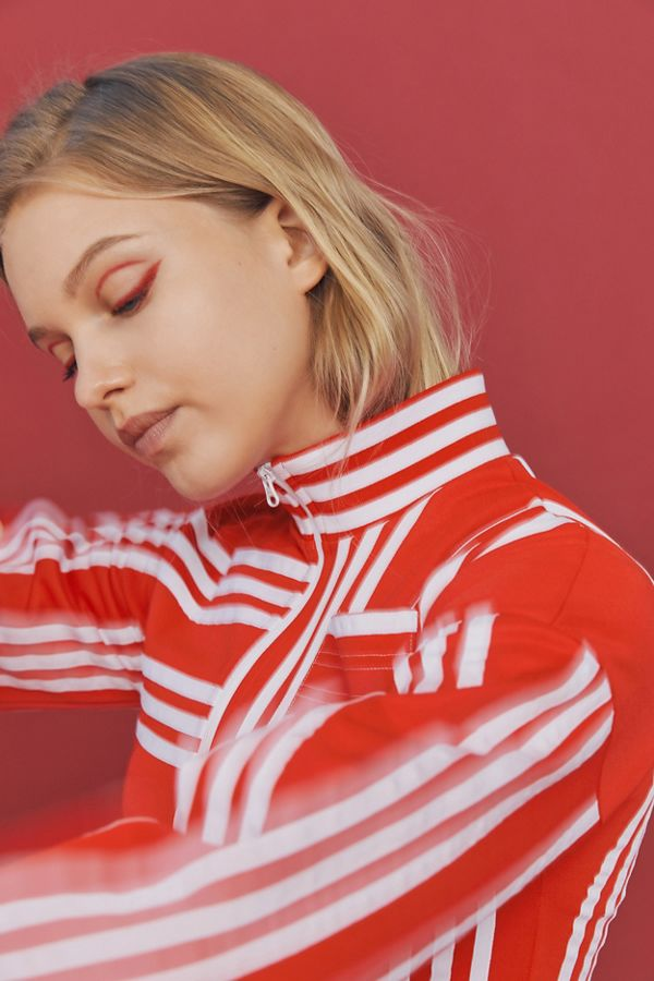 Exact Product: Kendall Jenner Red And White Jumper 2019, Brand: Adidas Originals, Available on: urbanoutfitters.com, Price: $150