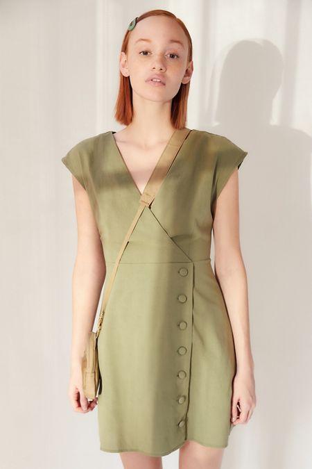 0a629a484a UO Surplice Button-Front Mini Dress