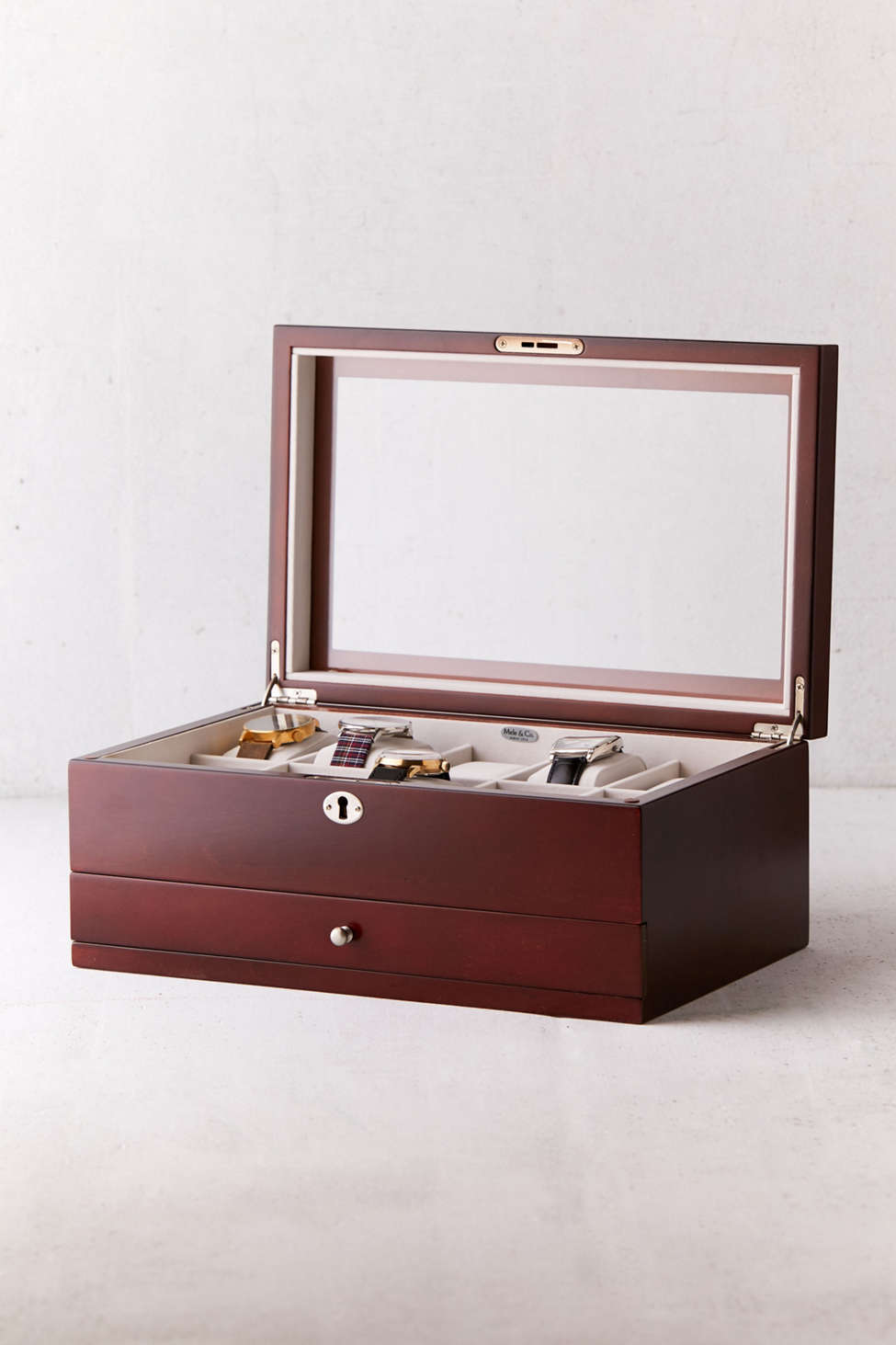 Slide View: 1: Mele & Co. Christo Glass Top Wooden Watch Box