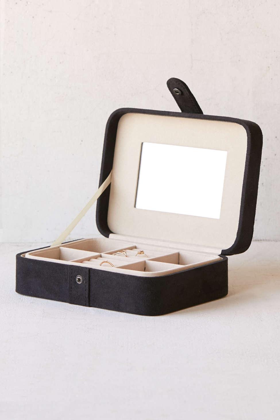 Slide View: 1: Mele & Co. Giana Flocked Travel Jewelry Box