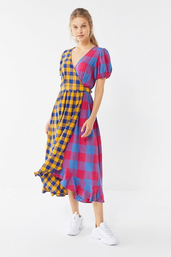 1cd465290f6d5 Slide View: 1: UO Anna Linen Mixed Plaid Midi Wrap Dress