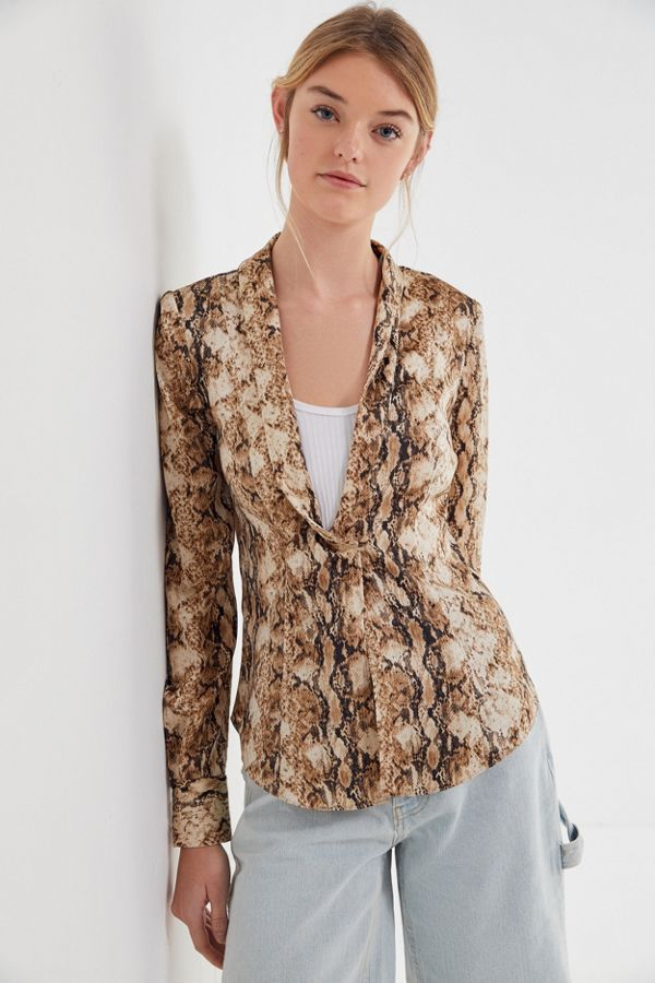 Exact Product: Isolde Snake Print Wrap Blouse, Brand: Ronny Kobo, Available on: urbanoutfitters.com, Price: $278