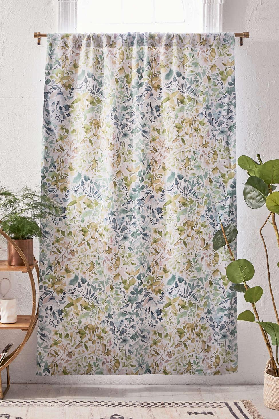 Slide View: 1: Ninola Design For Deny Green Flowers + Ivy Room Darkening Window Panel