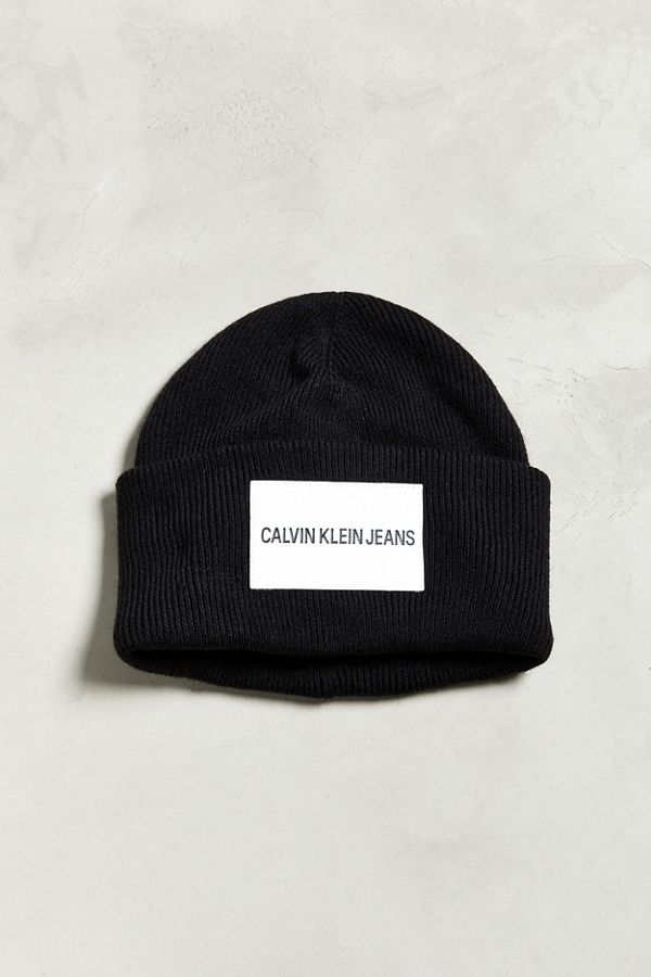 Slide View  1  Calvin Klein Jeans Leather Patch Beanie 03ce4bbb1d6
