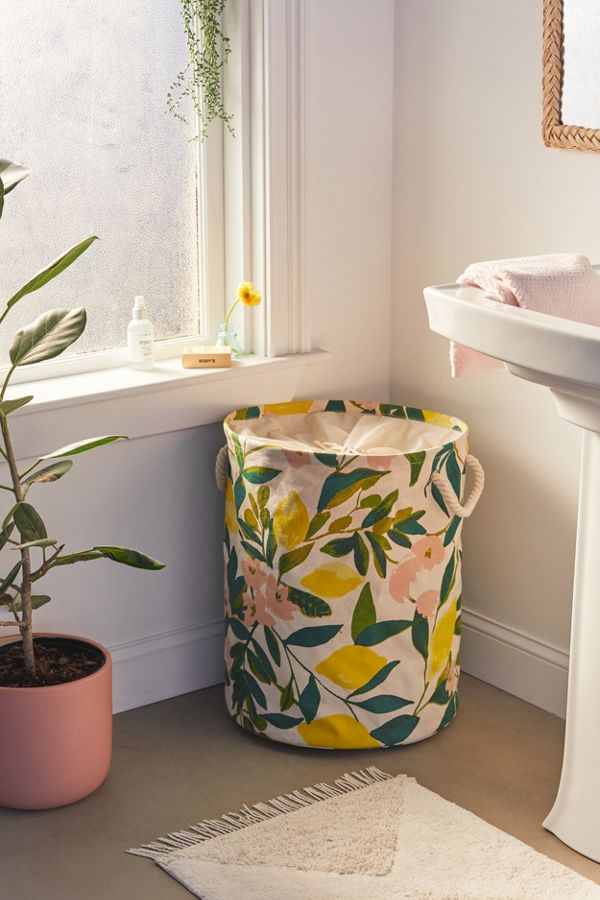 Slide View: 1: Lemons Printed Canvas Laundry Bag