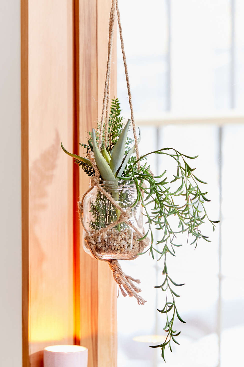 Slide View: 1: Hanging Potted Faux Plant