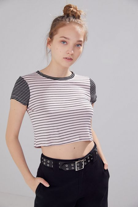89faeed921e71a Project Social T Striped Crew Neck Cropped Tee. Quick Shop