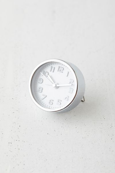 Kikkerland Design Round Mini Alarm Clock In Silver