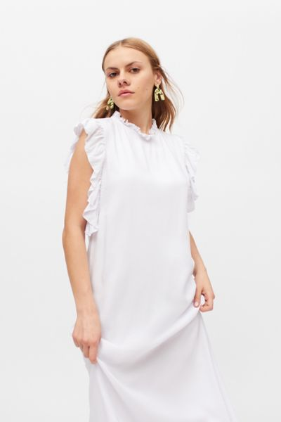 Aila Blue Makaha Ruffle Sleeveless Maxi Dress In White