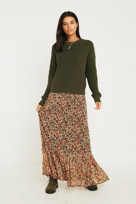 fa27fbbca2ee UO Floral Drop Peplum Maxi Skirt