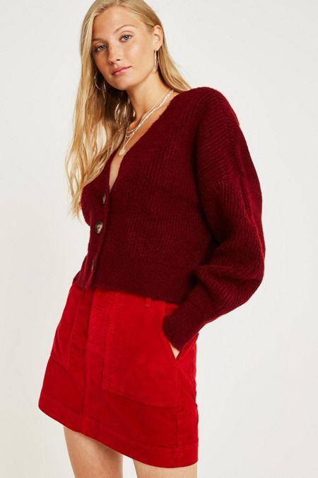 4b1b37b282e BDG Red Corduroy Carpenter Mini Skirt